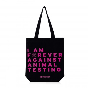 "Auduma maisiņš ""Forever Against Animal Testing"""